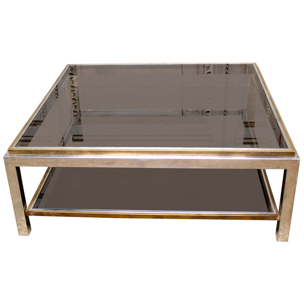 French Brass U0026 Chrome Cocktail Table