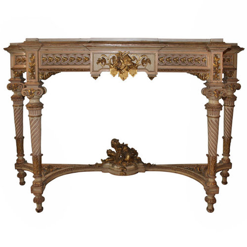 SOLD / French Louis XVI Carved Wood Console Table with Painted ...