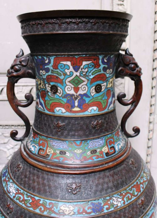 Bronze 19th Century Japanese Champlev Vases With Chinese Design