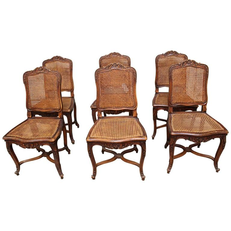 Set Of Six French Louis XV Style Caned Dining Chairs