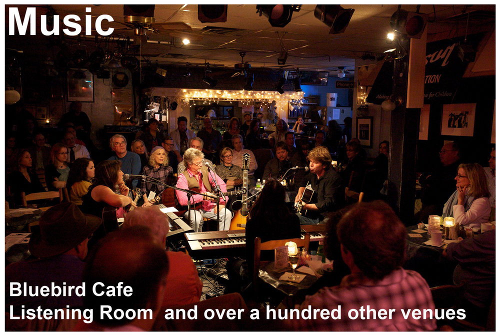 "Nashville has also long been known as the ""Songwriting Capital of the World."" Songwriters from all over the world come to Music City to learn the art and share their passion of songwriting. The famous Bluebird Cafe showcases songwriters performing their original music in an intimate ""in the round"" setting that was created in Nashville and allows them to share the stories of inspiration behind their songs"