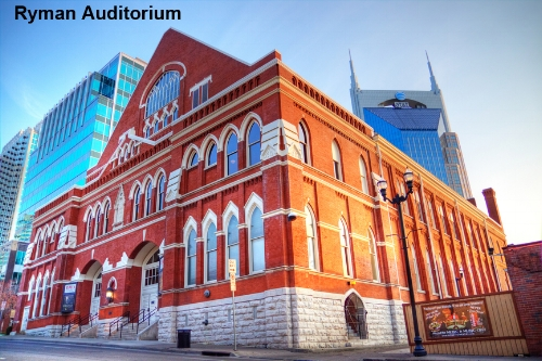 "The Ryman Auditorium, the original home of the Grand Ole Opry. Enrico Caruso, John Phillip Sousa, and the Vienna Orchestra gave performances here that earned the Ryman the nickname the ""Carnegie Hall of the South"". It has won Pollstar magazine's ""Theater of the Year"" award4 times in the past 10 years."
