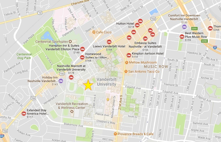 A map of hotels near the university. The large star notes the location of the Student Life Center at Vanderbilt University.