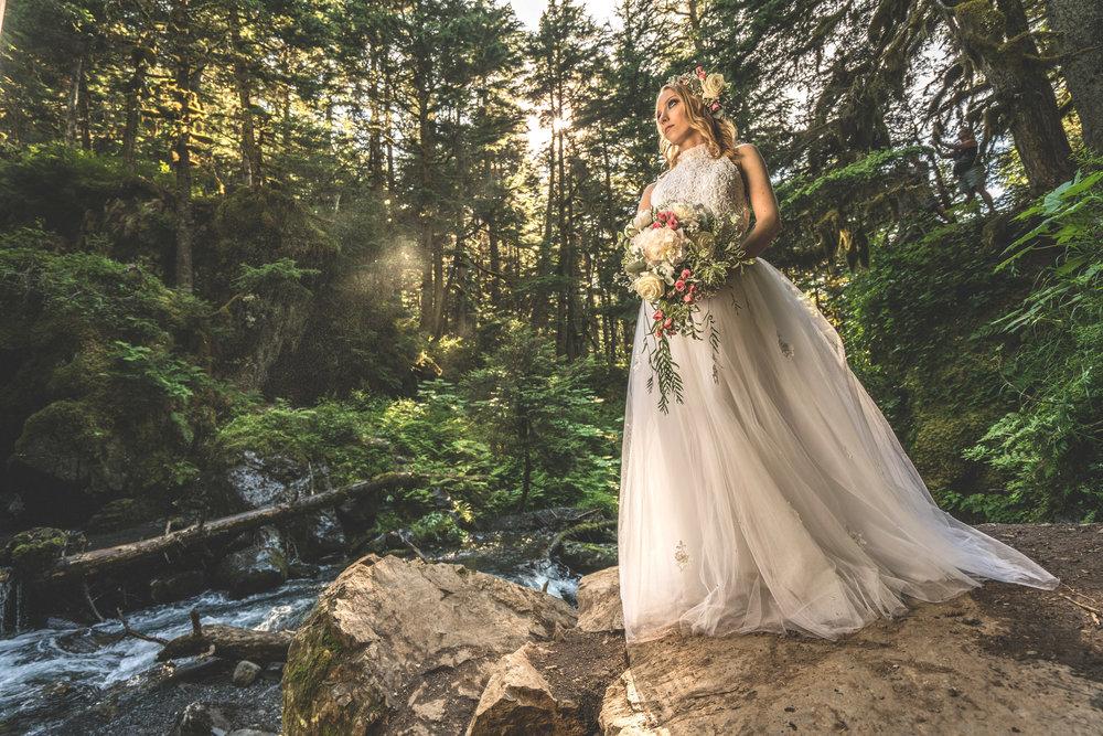 Natalie Appell as a runaway bride in Girdwood Alaska!