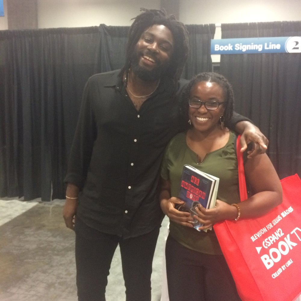 With author Jason Reynolds at the 2016 National Book Festival in Washington, DC.