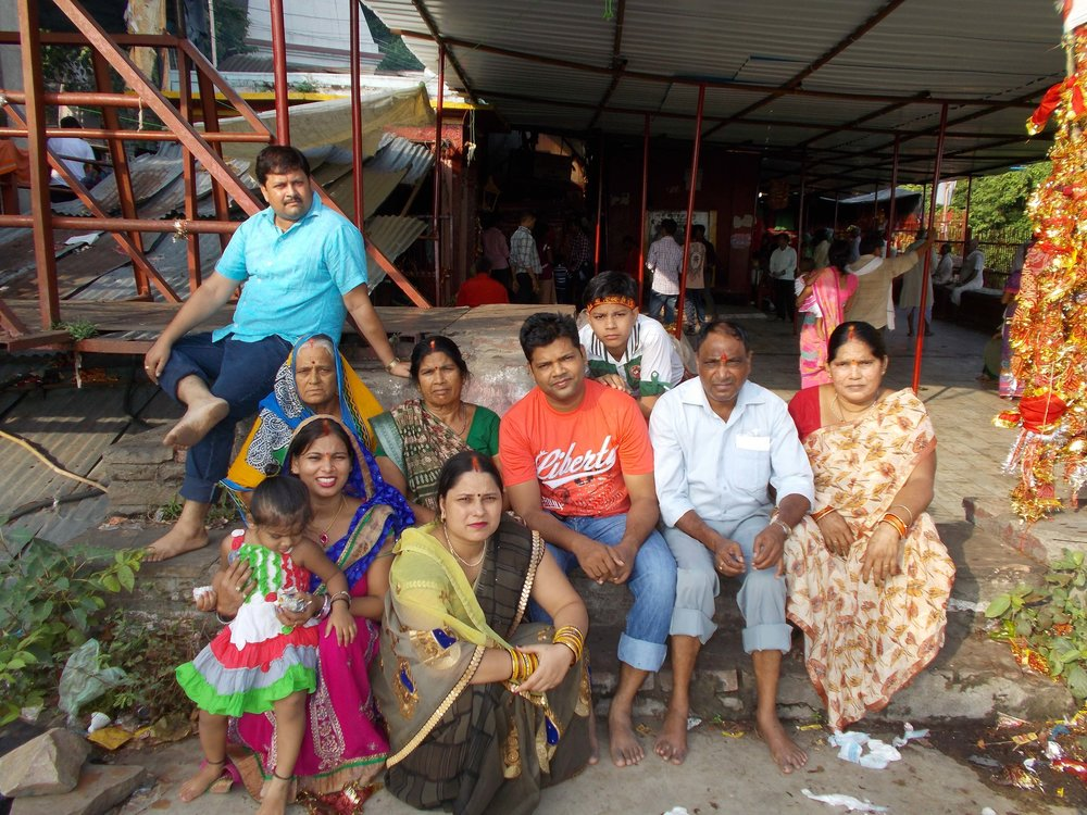 Anand and his family at the old temple of Godess Gurga, Vindhyavasini Devi Temple. Which is situated in Vindhyachal on the banks of the holy river Ganges.