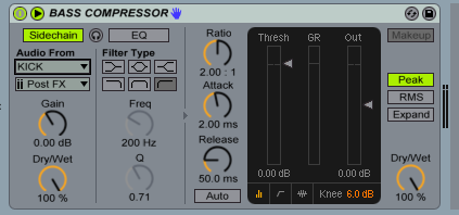 The 'Audio From' box allows us to choose the input signal that we'll use for the side-chain.