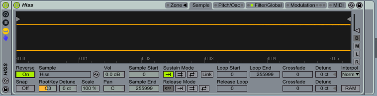 Hiss in Ableton Live's sampler triggered by midi.