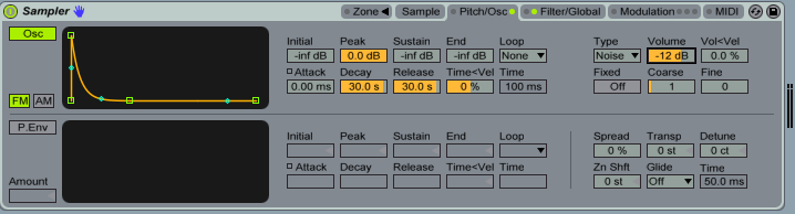 Ableton Live's Noise oscillator held within the Sampler.