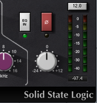 Look out for this dial (red) on many Eq's or pre-amps.  This flips the phase of the incoming signal.