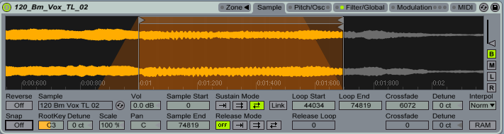 Our settings of choices for creating pads using a vocal sample