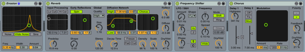 FX Choice - Erosion > Reverb > Freq Shifter > Chorus