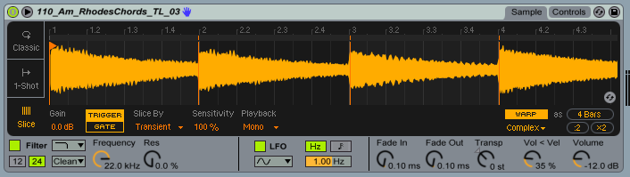 Add slices to your sample using Ableon's 'Slice' Mode.
