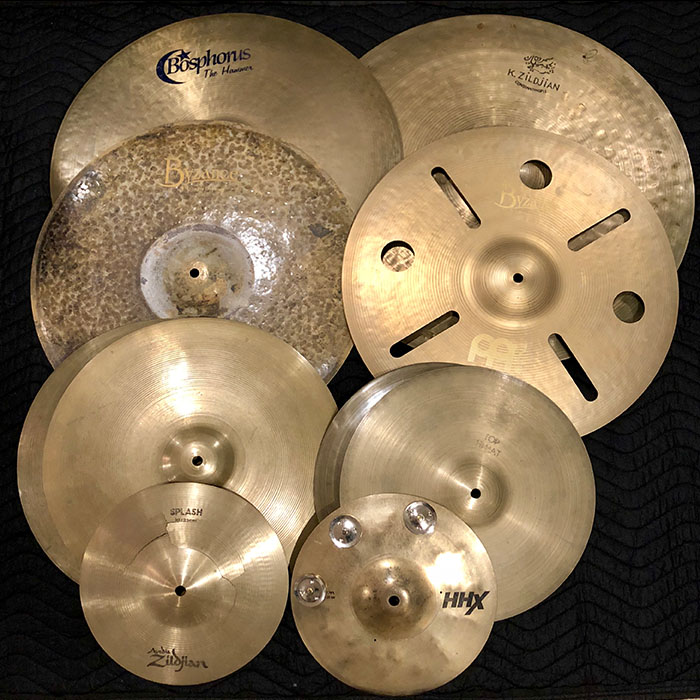 part of the extensive cymbal collection owned by Brad.
