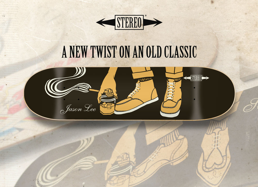 Stereo Jason Lee boots board graphic