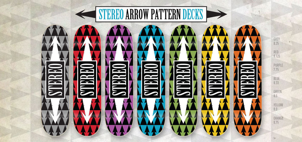 Stereo arrow pattern logo decks