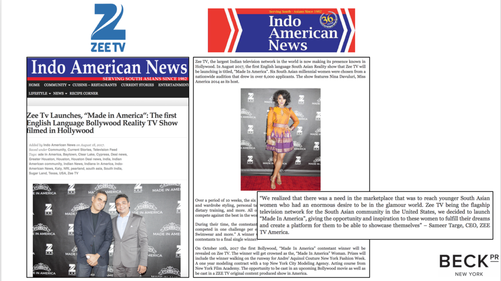ZEE TV MIA - INDO AMERICAN NEWS - AUG 18TH 2017 - BECK PR NO STATS.png