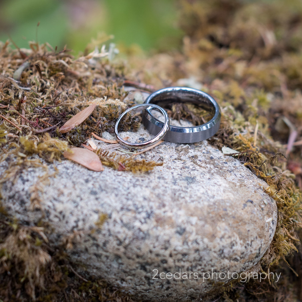 Simple wedding rings on rocks and moss outdoor wedding