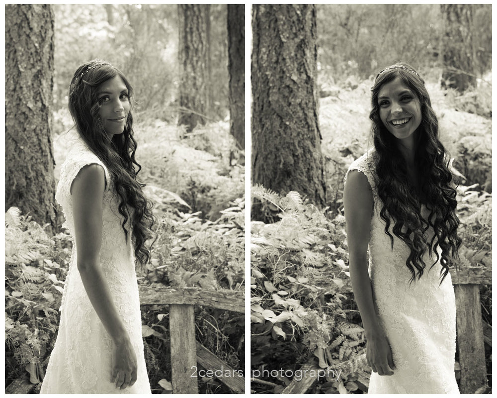 Black and White bride portrait reveal long hair