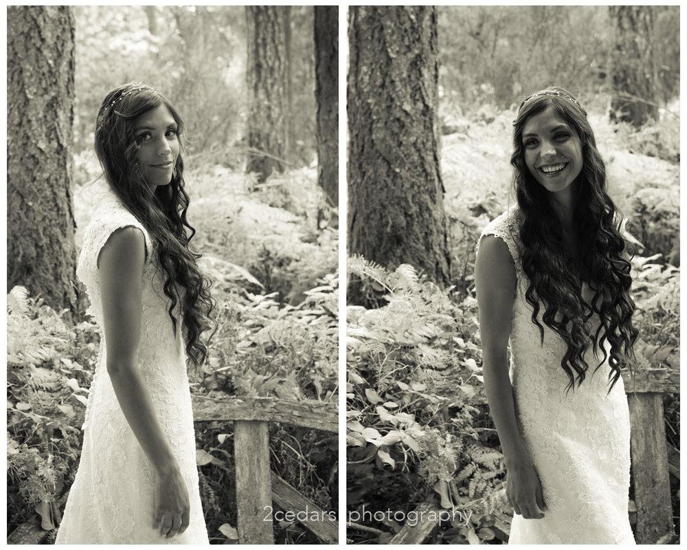 Black and White bride portrait reveal long hair