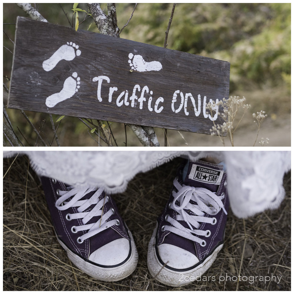 Purple Converse bride's shoes. informal wedding foot traffic sign
