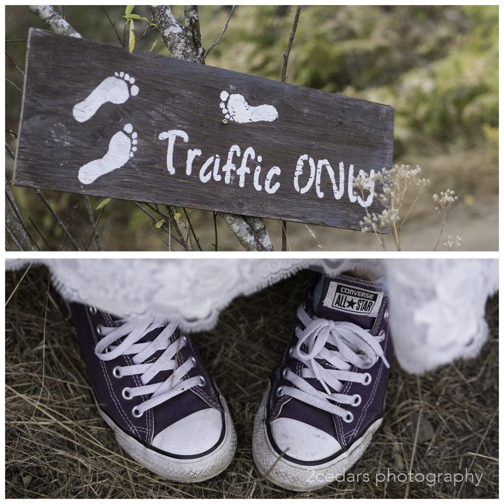 Purple Converse bride's shoes. informal wedding foot traffic sign