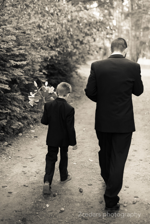 Groom and son at Grand Farms wedding, Vaughn, WA
