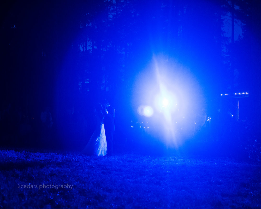 Blue backlit first dance at wedding