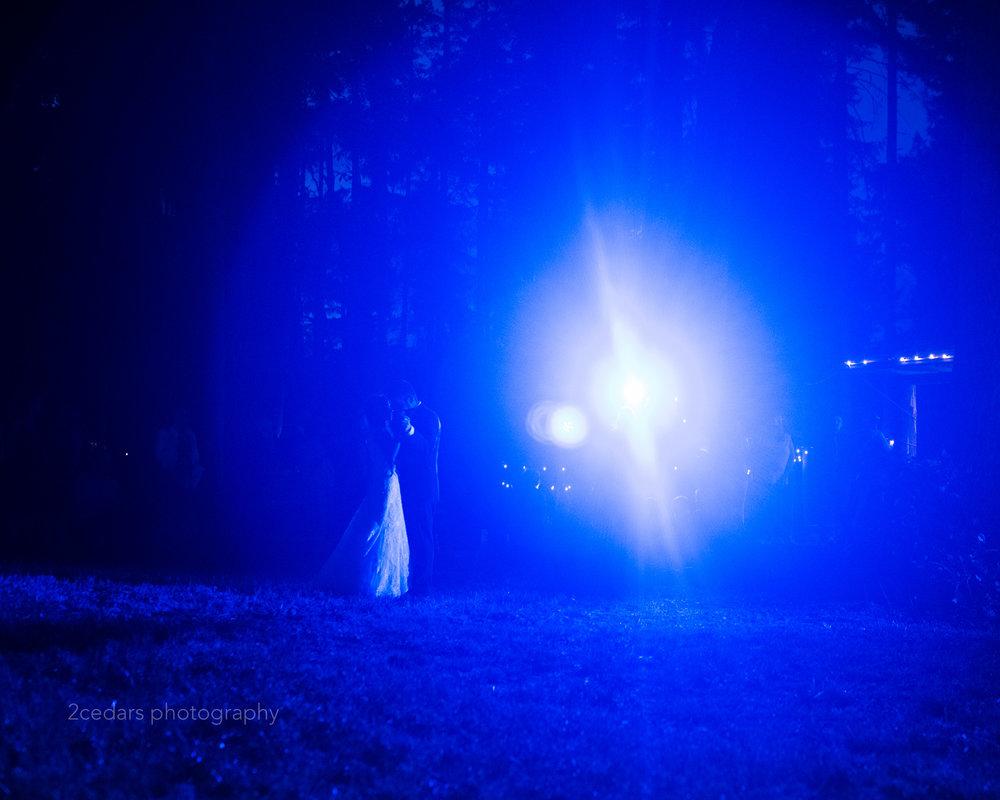 Blue backlit first dance at wedding