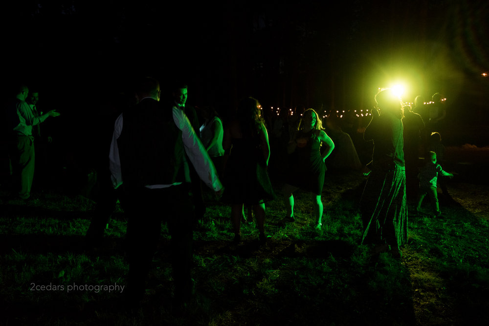 Outdoor wedding dance floor with green light