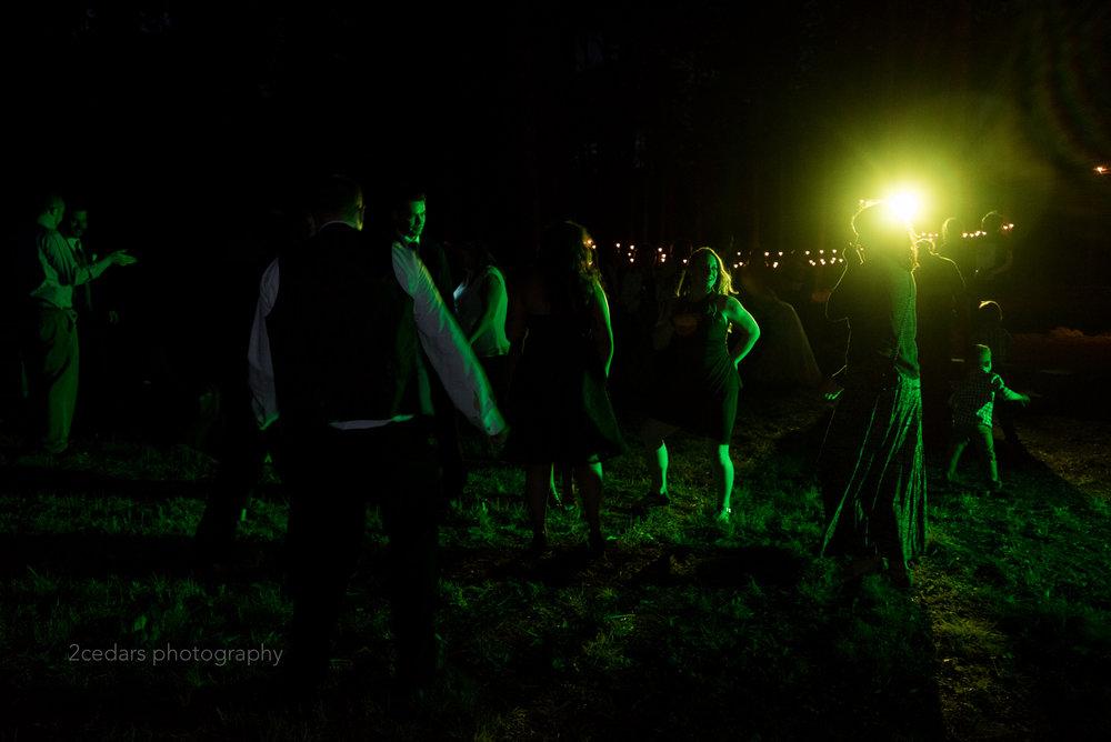 Outdoor wedding dance floor with green light