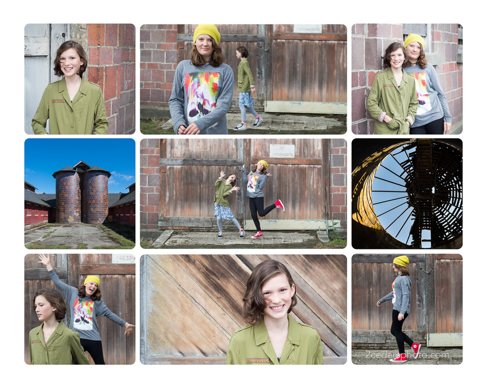 Family portrait collage of sisters at Fort Steilacoom near Tacoma