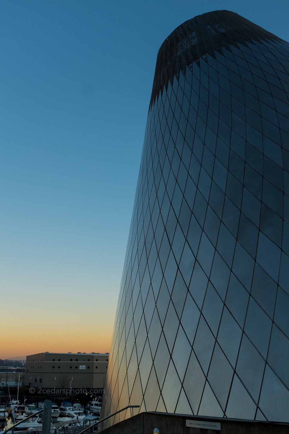 Museum of Glass Cone and marina at sunset in Tacoma, WA