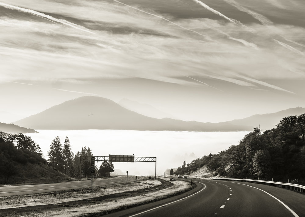 Mountain Highway Sunrise B&W