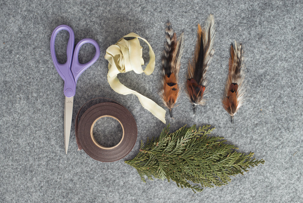 Supplies to make your own feather and cedar boutonnieres
