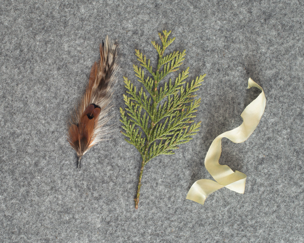 Feather pick, cedar tip and silk ribbon to make your own boutonniere