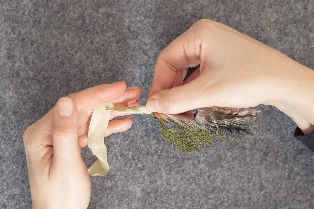 cedar-feather-ribbon-boutonniere