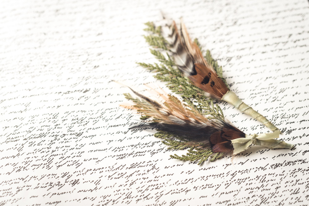 Copy of Feather and cedar boutonnieres