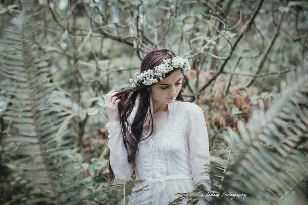 2 Cedars Photography - Seattle/Tacoma photographers  Wedding inspo shoot - vintage forest bride framed by ferns