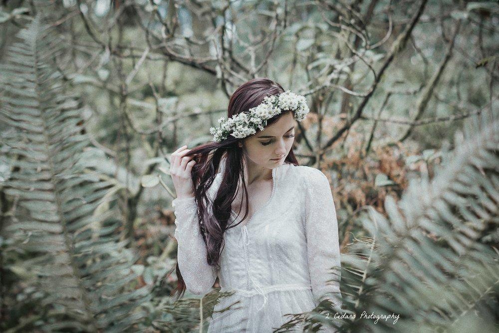 vintage forest bride framed by ferns