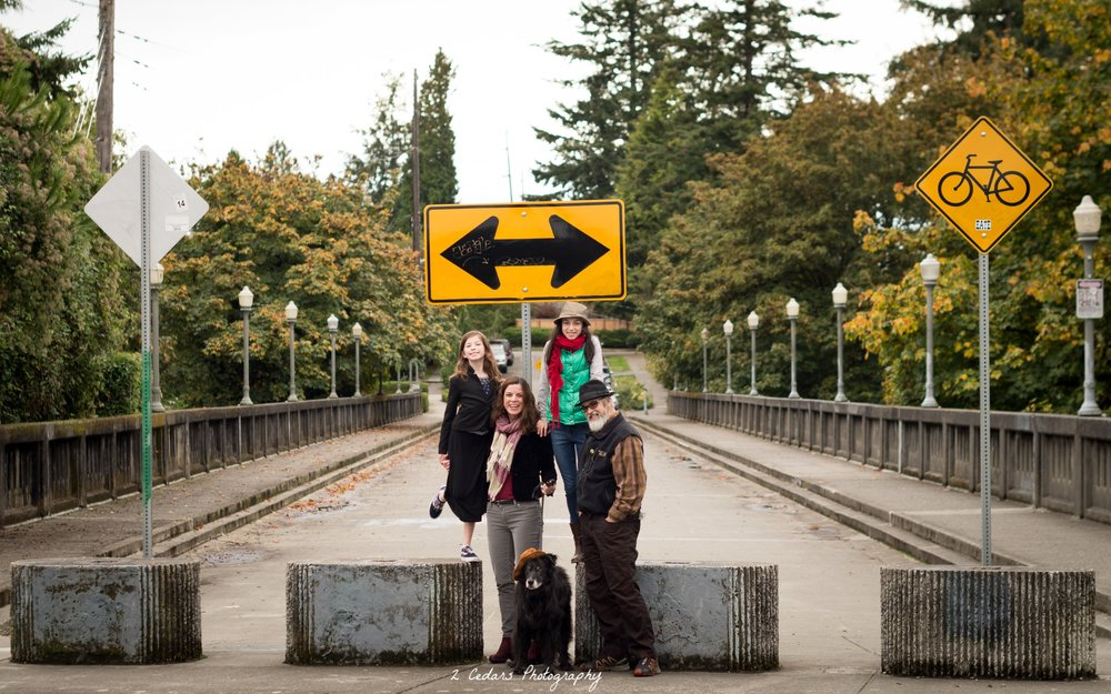 Urban Tacoma family portrait in the fall with dog