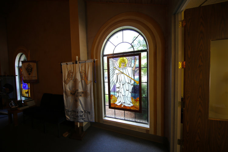 ABOVE: A stained glass window in St. Gabriel's Church entranceway.