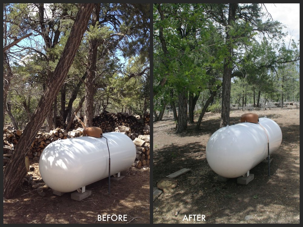Simple fuel reduction procedures around your home can greatly reduce your home's risk to wildfire. The above photos show fuel reduction around a propane tank on private property in the WUI. The propane tank was not moved, but the wood pile was moved and an overhanging oak tree was removed.