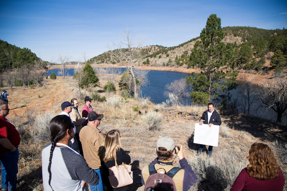 The City of Santa Fe's Water Resource Division, Alan Hook, giving a talk to the Wildland Urban Interface Summit field trip in the Municipal Watershed.