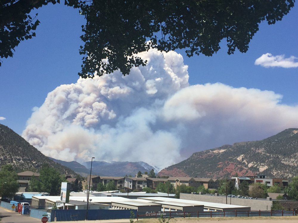 Smoke from the 416 fire above Durango, CO. Photo: Lori Zazzaro, SJBH