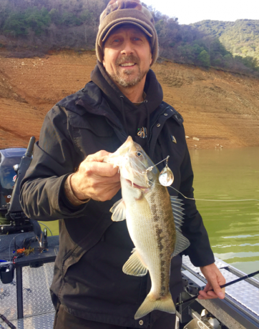 Mike Gadberry of Redding Ca. with a nice Shasta Lake Spotted bass caught while fishing with Jeff Goodwin.