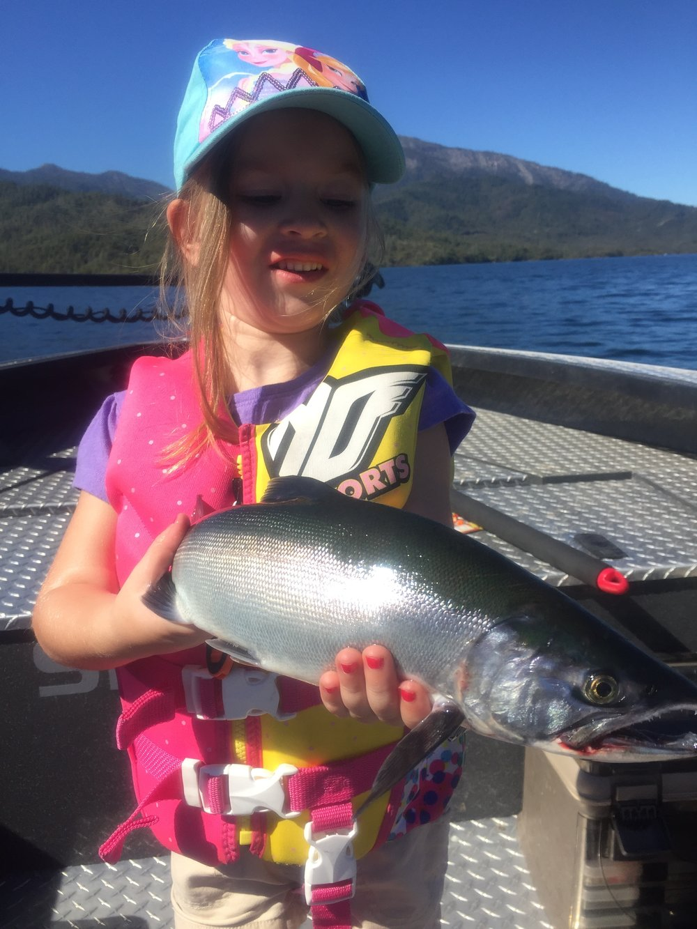 "Gracie Goodwin with an 18"" Whiskeytown Lake Kokanee salmon caught in 2016."