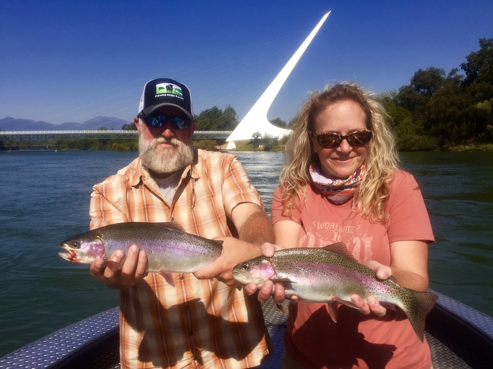August will offer some of the best trout and steelhead fishing many have ever experienced. Double hook ups like these clients experienced last August are commonplace when fishing the Sacramento this time of the year.