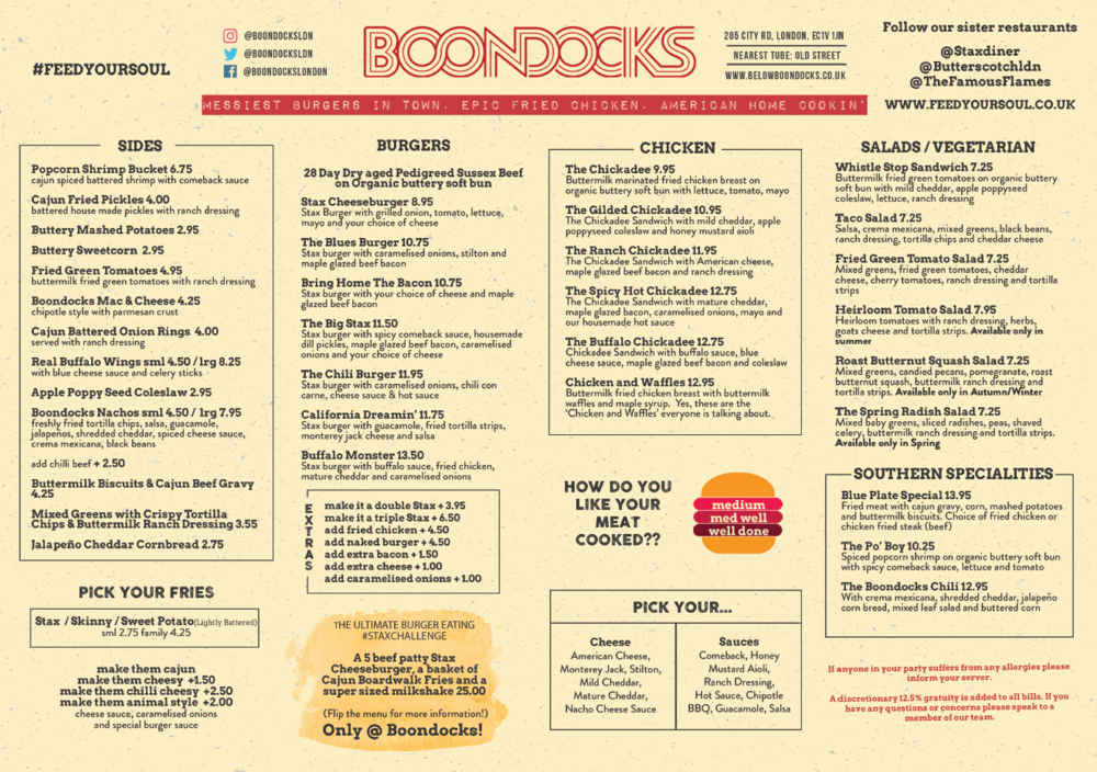 Boondocks Menu