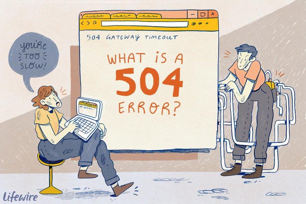 504 Gateway Timeout Errors -  https://www.lifewire.com/504-gateway-timeout-error-explained-2622941